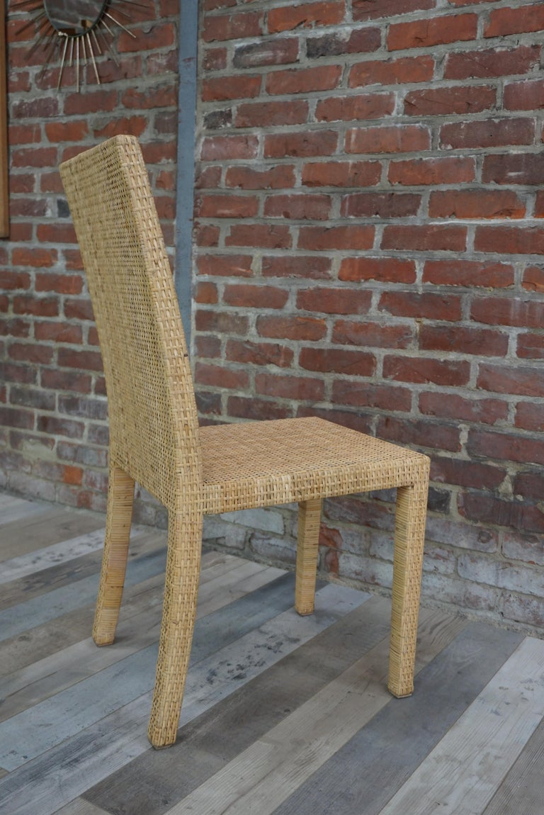French Art Deco Rattan Chairs Design Jean-Michel Frank for Ecart International For Sale 3