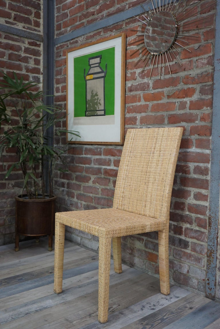 French Art Deco Rattan Chairs Design Jean-Michel Frank for Ecart International For Sale 4