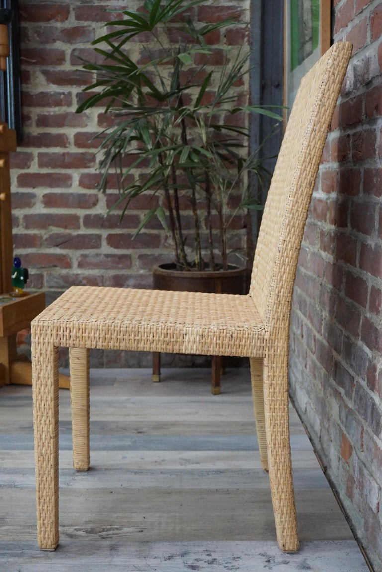 Mid-20th Century French Art Deco Rattan Chairs Design Jean-Michel Frank for Ecart International For Sale