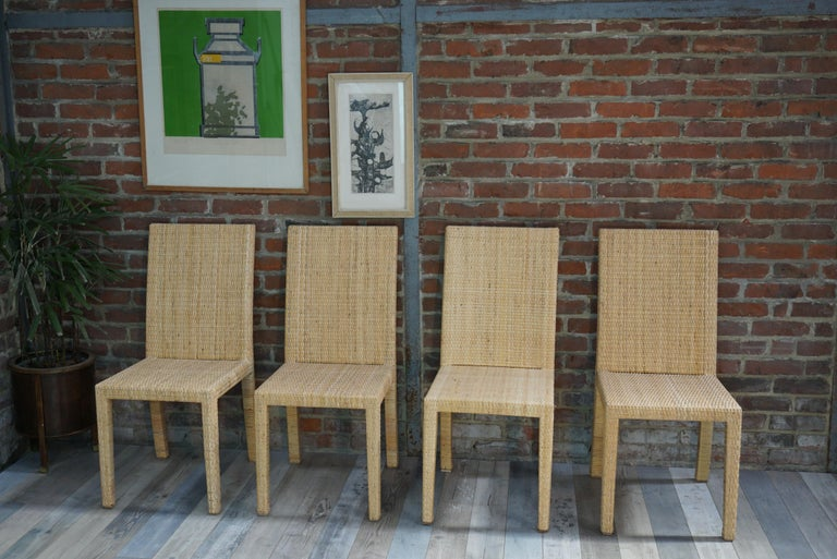 French Art Deco Rattan Chairs Design Jean-Michel Frank for Ecart International For Sale 5