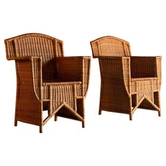 French Art Deco Rattan Wicker Armchairs, circa 1960