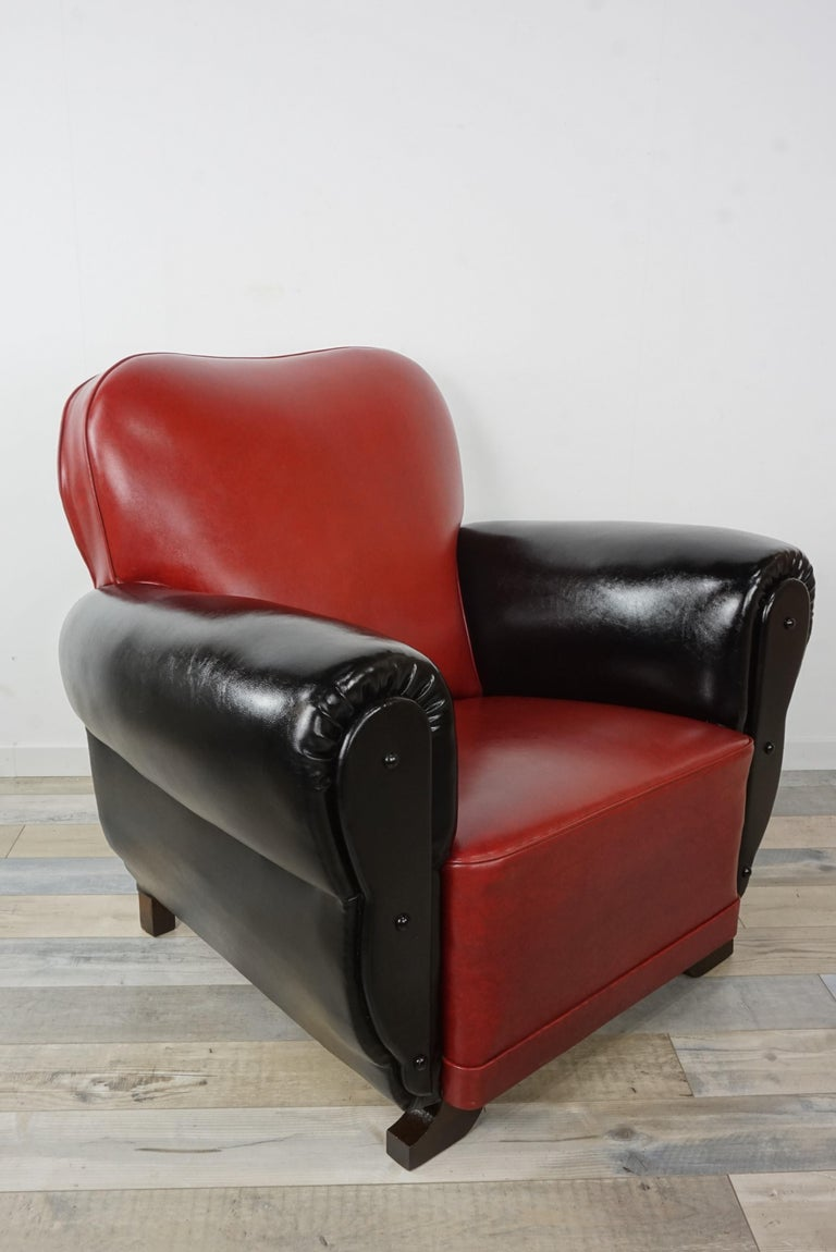 French Art Deco Red And Black Faux Leather Club Armchair