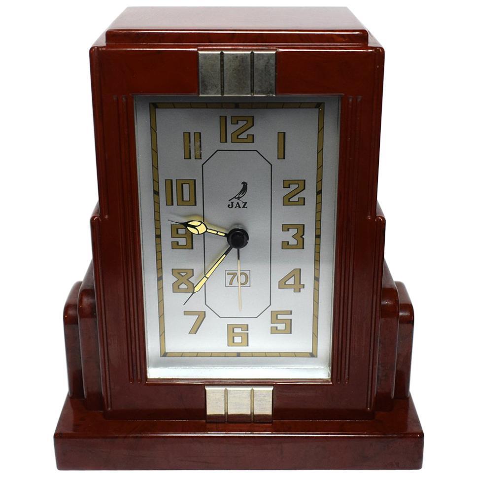 French Art Deco Red Bakelite Clock by JAZ