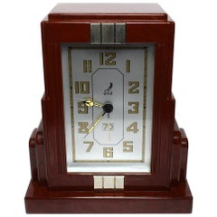 French Art Deco Red Bakelite Clock by JAZ