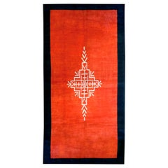 French Art Deco Red Rug with Navy Border and Ivory Central Medallion