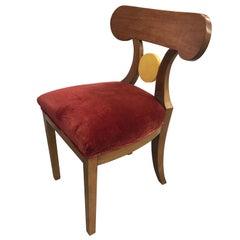French Art Deco Red Velvet Dining Chair