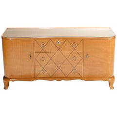 French Art Deco René Prou Sycamore Brass Sideboard Commode, 1940s