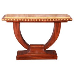 French Art Deco Rosewood and Burled Olive Wood Console Table, circa 1930s