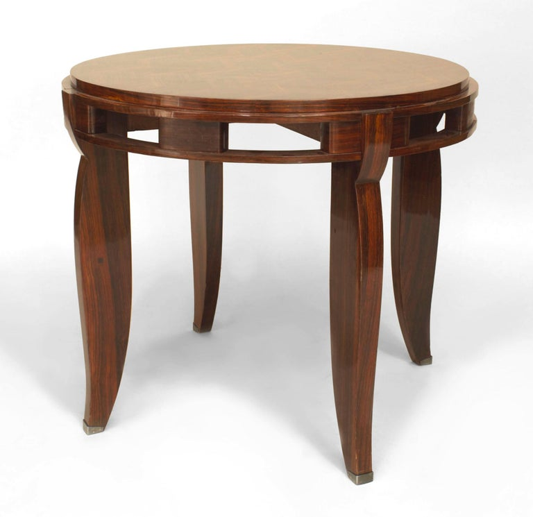 French Art Deco Round Rosewood End Table With A Geometric Diamond Design Top And Open