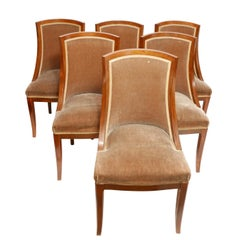 French Art Deco Rosewood Dining Chairs, Set of Six