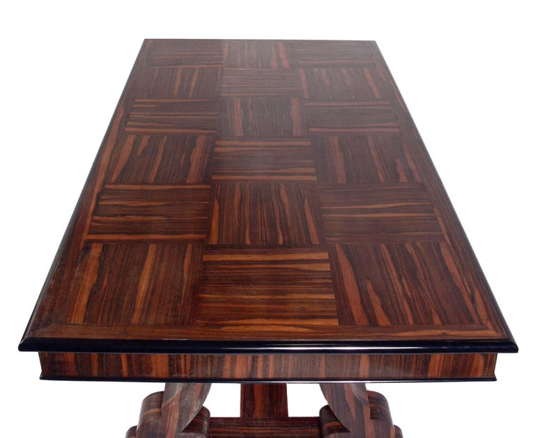 French Art Deco Rosewood Dining Table or Library Table ) (dibs_I_description from:  to: French Art Deco Rosewood Dining Table or Library Table, France, circa 1930s. This table is currently being refinished and will be incredible when completed. The