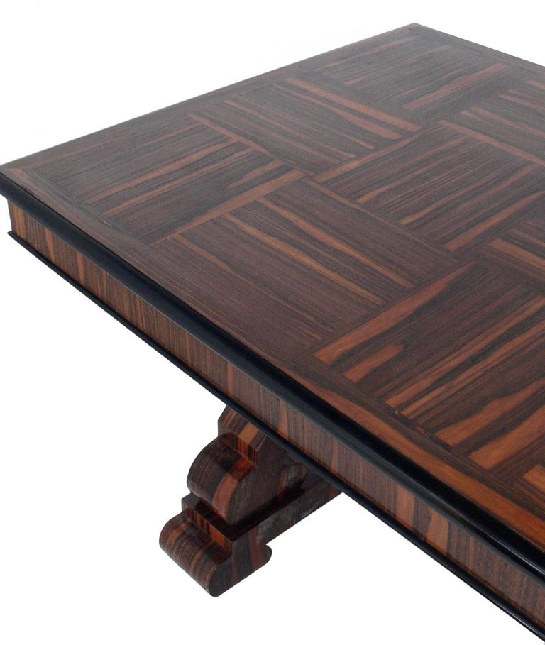 Wood French Art Deco Rosewood Dining Table or Library Table