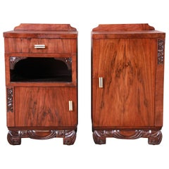 French Art Deco Rosewood Nightstands, circa 1920s