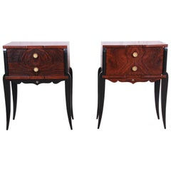 French Art Deco Rosewood Nightstands circa 1930s, Newly Restored