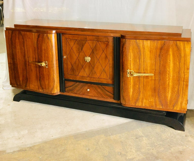 French Art Deco Rosewood Sideboard in the Jules Leleu Style For Sale 2