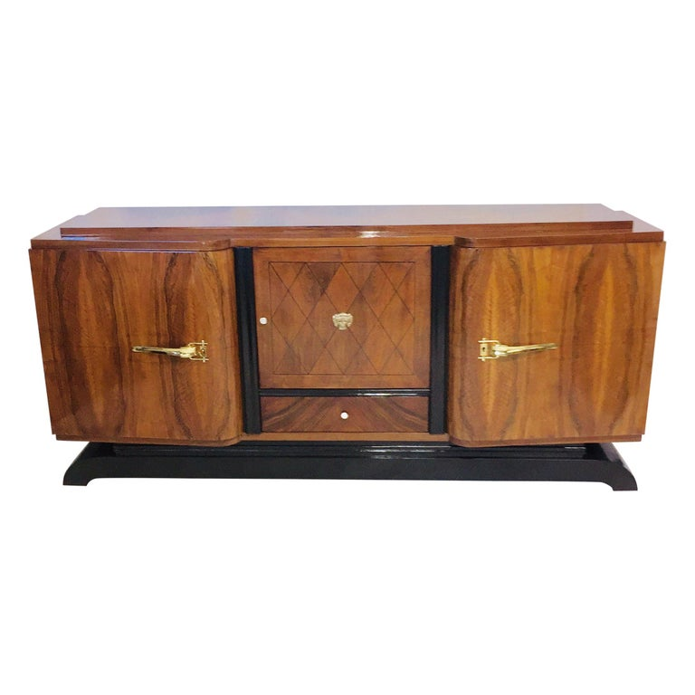 French Art Deco Rosewood Sideboard in the Jules Leleu Style For Sale