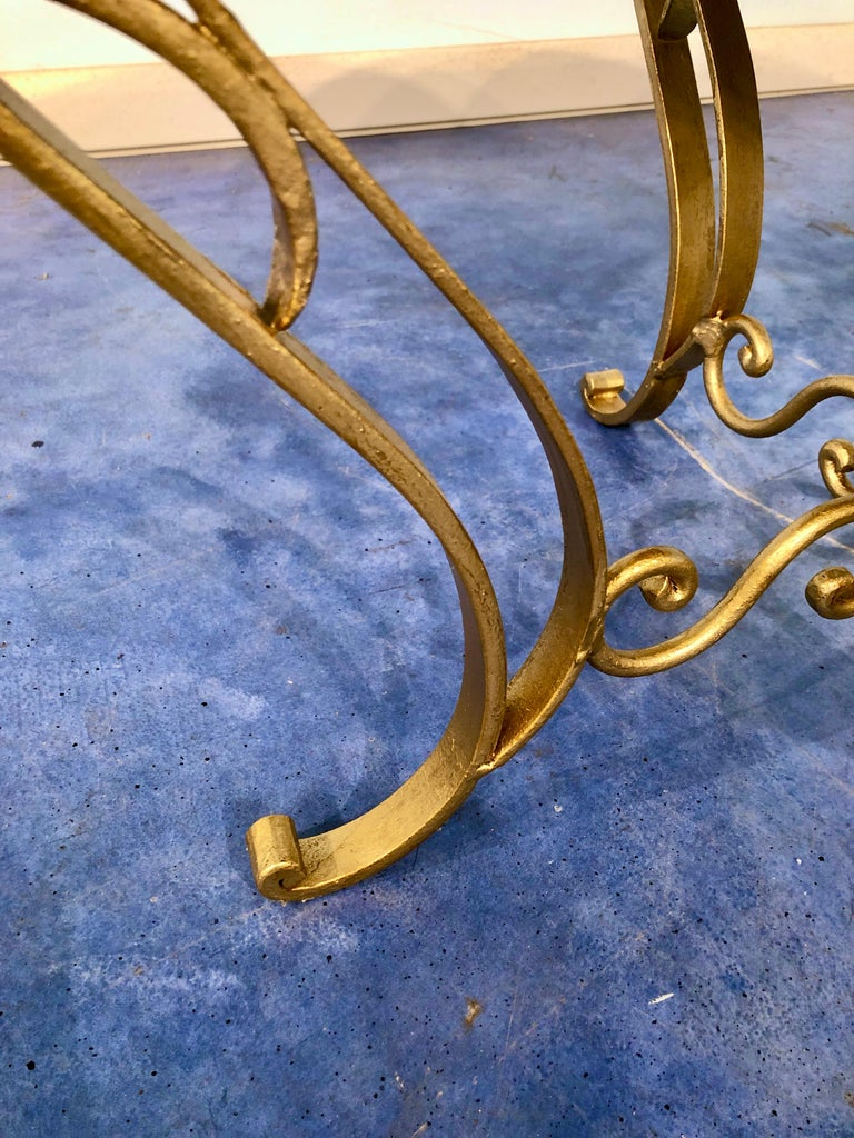 French Art Deco Round Coffee Table in Gilded Iron, 1950 For Sale 5