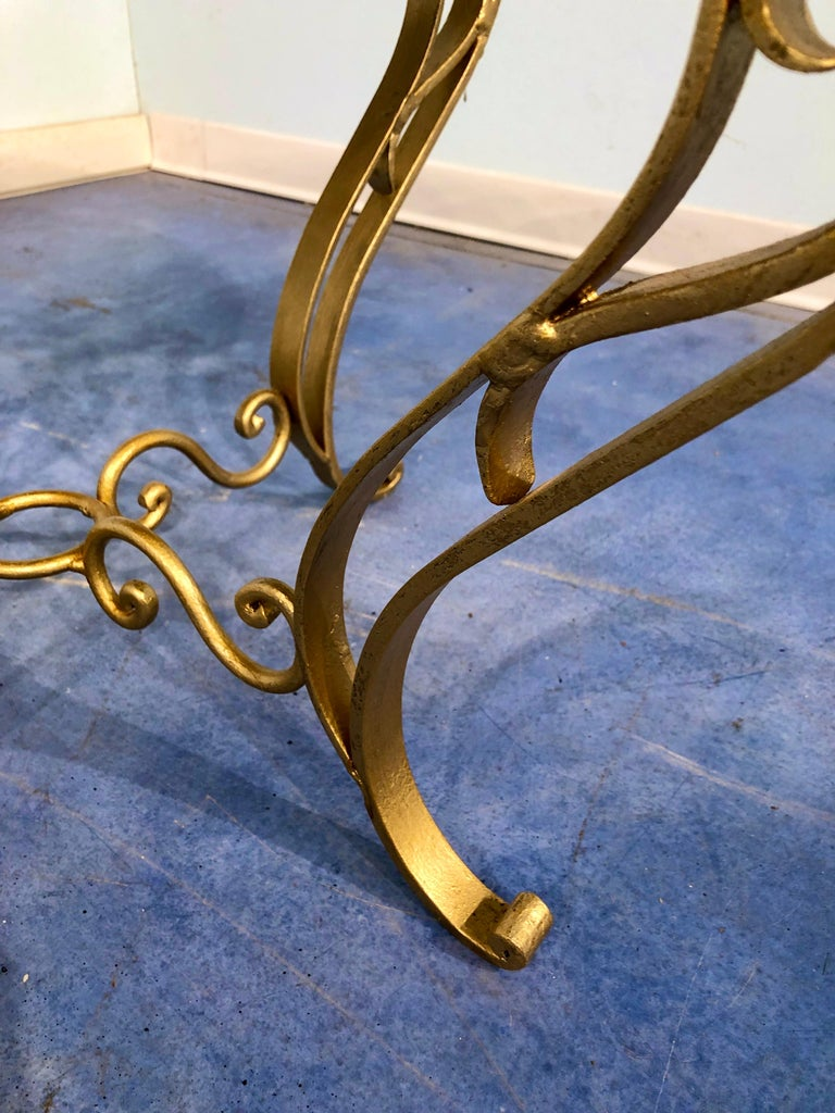French Art Deco Round Coffee Table in Gilded Iron, 1950 For Sale 6