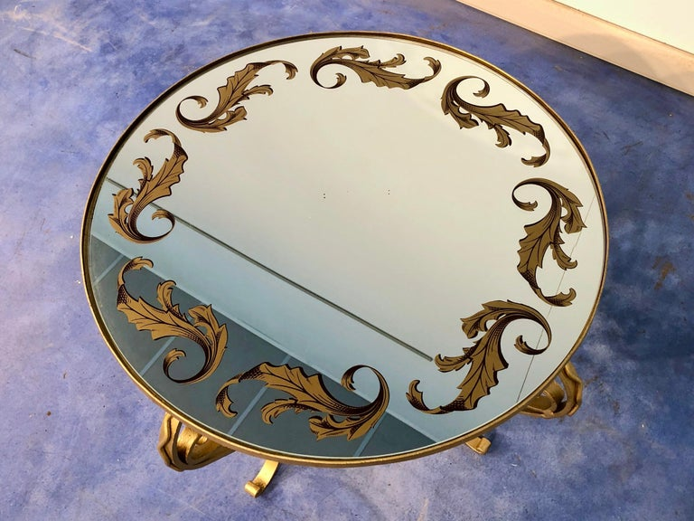French Art Deco Round Coffee Table in Gilded Iron, 1950 For Sale 7