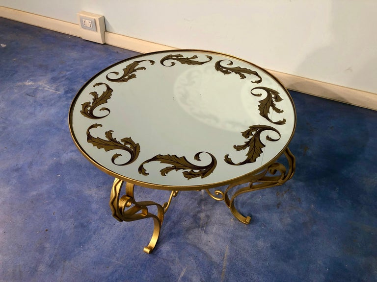 French Art Deco Round Coffee Table in Gilded Iron, 1950 For Sale 8