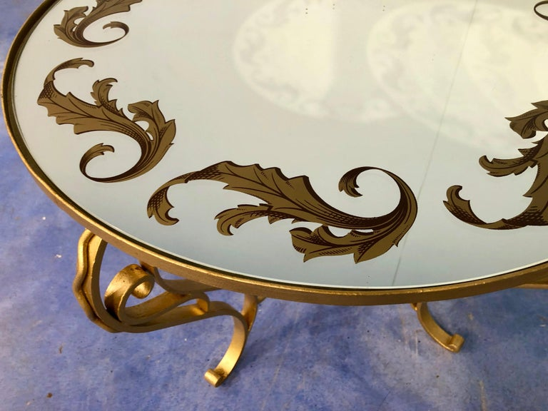 French Art Deco Round Coffee Table in Gilded Iron, 1950 For Sale 11