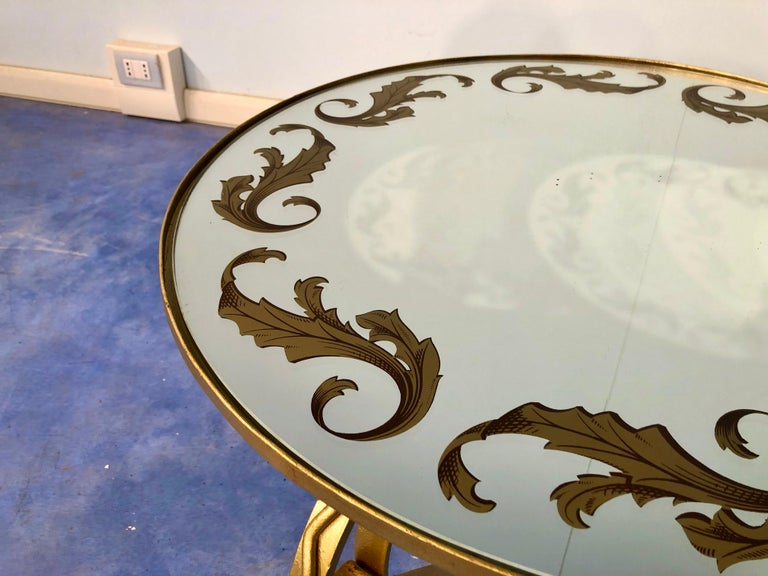French Art Deco Round Coffee Table in Gilded Iron, 1950 For Sale 12