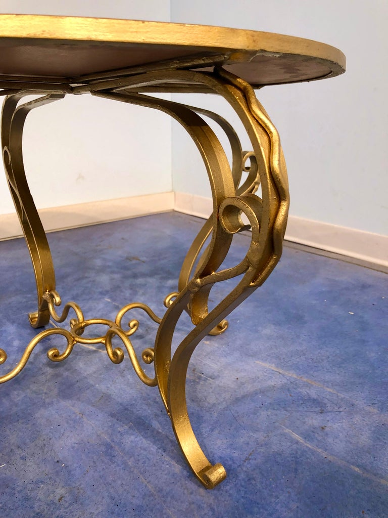 French Art Deco Round Coffee Table in Gilded Iron, 1950 For Sale 2