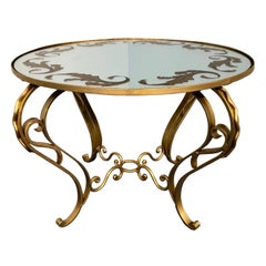 French Art Deco Round Coffee Table in Gilded Iron, 1950