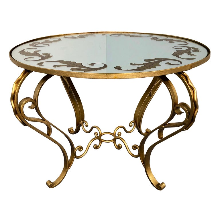 French Art Deco Round Coffee Table in Gilded Iron, 1950 For Sale