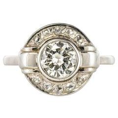 French Art Deco Round Diamond 18 Karat White Gold Ring