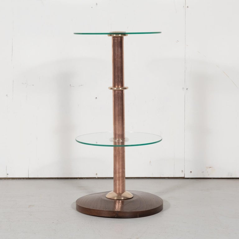 French Art Deco Round Glass, Brass, and Copper Drink Occasional or Side Table In Good Condition For Sale In Birmingham, AL