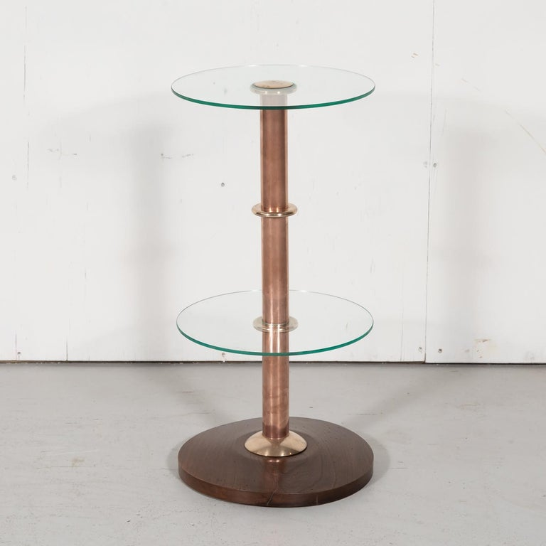 French Art Deco Round Glass, Brass, and Copper Drink Occasional or Side Table For Sale 5