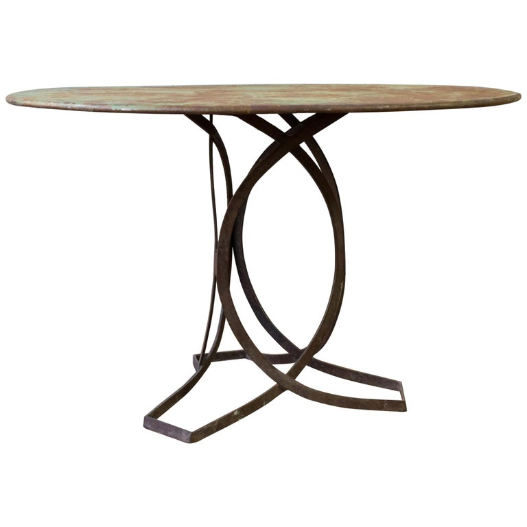 French Art Deco Round Iron Garden Table with Abstract Base For Sale