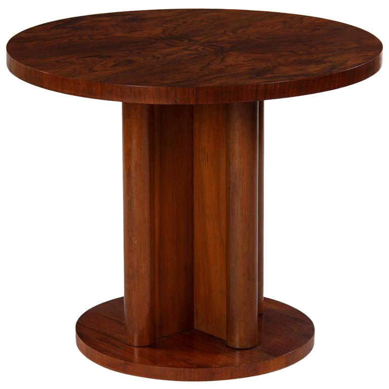 French Art Deco Round Walnut Side Table, 1930s For Sale