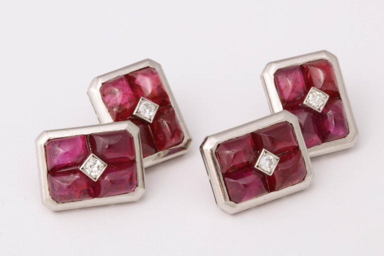 French Art Deco Ruby and Diamond Cufflinks In Excellent Condition For Sale In New York, NY