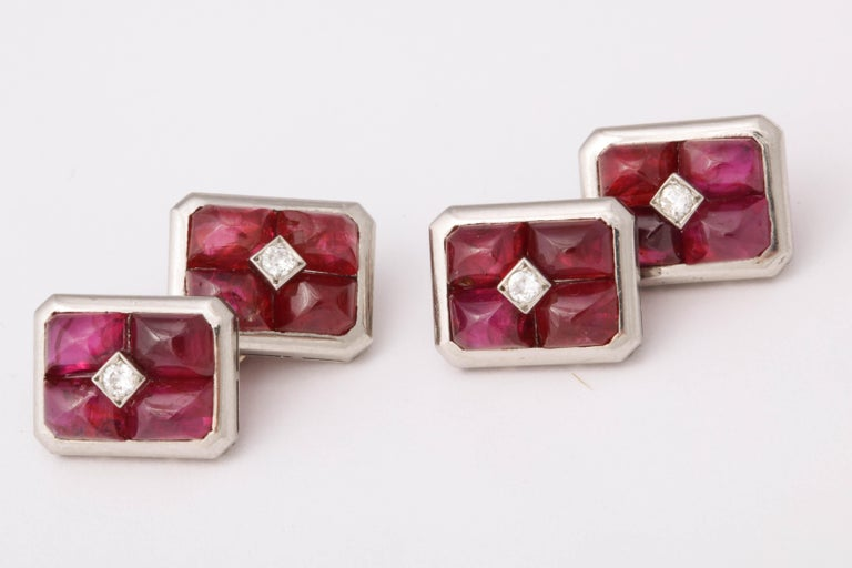 Women's or Men's French Art Deco Ruby and Diamond Cufflinks For Sale