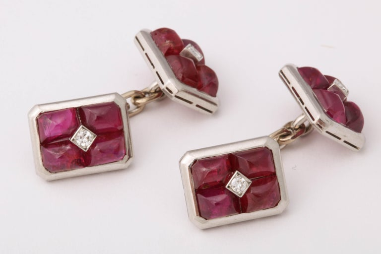 French Art Deco Ruby and Diamond Cufflinks For Sale 1