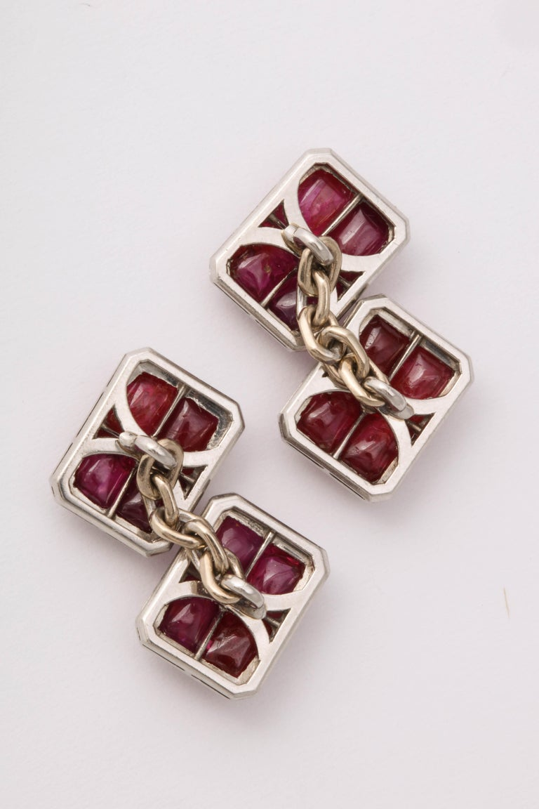 French Art Deco Ruby and Diamond Cufflinks For Sale 2