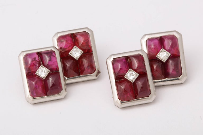 French Art Deco Ruby and Diamond Cufflinks For Sale 3