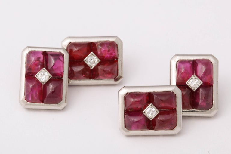 French Art Deco Ruby and Diamond Cufflinks For Sale 4