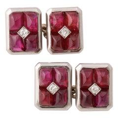 French Art Deco Ruby and Diamond Cufflinks
