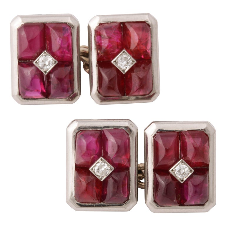 French Art Deco Ruby and Diamond Cufflinks For Sale