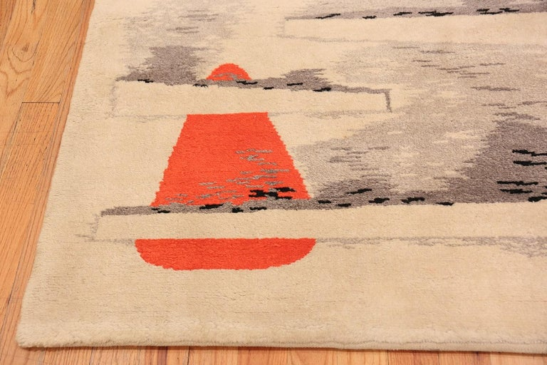 Art Deco rug by Jacques Borker, country of origin France, circa mid-20th century. Size: 5 ft 2 in x 6 ft 8 in (1.57 m x 2.03 m)  Handwoven and signed by renowned artist Jacques Borker, this stunning French masterpiece perfects the sleek, surreal