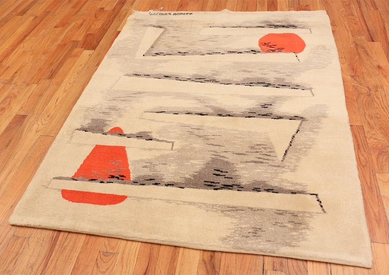French Art Deco Rug by Jacques Borker. Size: 5 ft 2 in x 6 ft 8 in In Excellent Condition For Sale In New York, NY