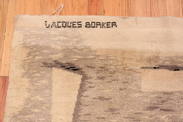 Wool French Art Deco Rug by Jacques Borker. Size: 5 ft 2 in x 6 ft 8 in For Sale