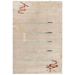 French Art Deco Rug in Beige, Brown, Green and Orange