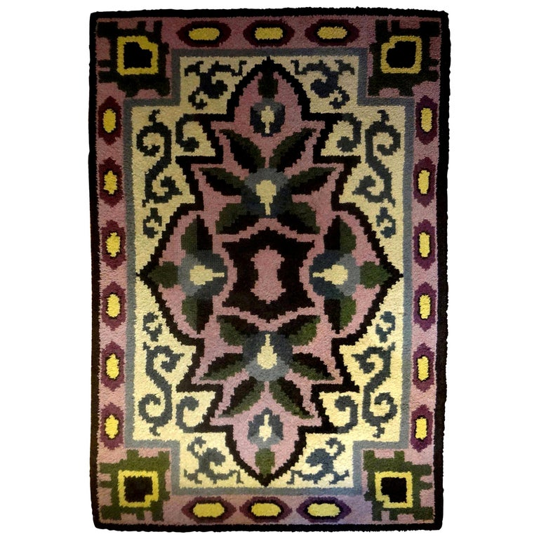 Colorful French Art Deco carpet /modernist carpet with great geometric design and fantastic colors (cream, black, lavender, purple, blue and green.) This great French Art Deco geometric rug is in the style of Jules Leleu, Maurice Dufrène and Paul