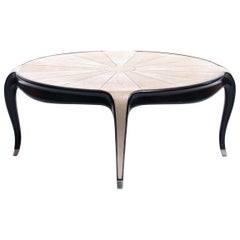French Art Deco Style Shagreen and Ebony Coffee Table with Silver Sabots