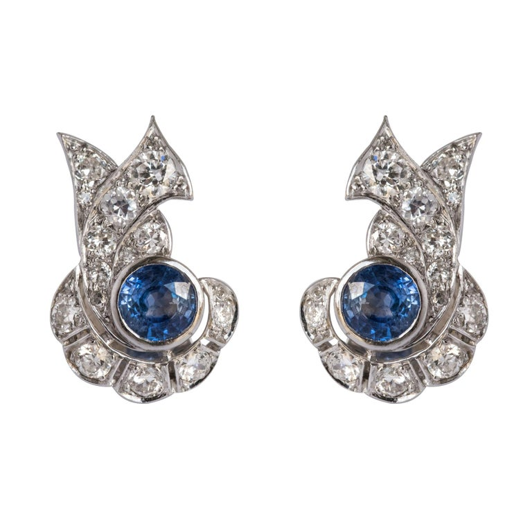 b0b93d7d8 French Art Deco Sapphire and Diamond Earrings For Sale at 1stdibs