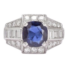 French Art Deco Sapphire Diamond Platinum Cocktail Ring